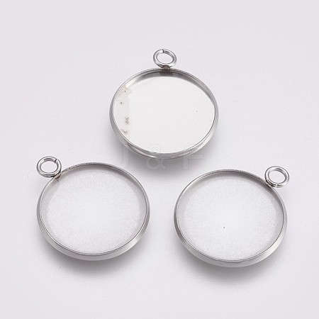 202 Stainless Steel Pendant Cabochon SettingsSTAS-I088-A-03P-1
