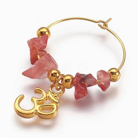 Natural Carnelian Beads Wine Glass CharmsAJEW-PH00842-02-1