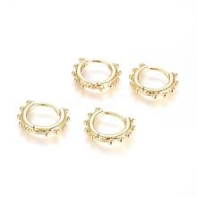 Brass Huggie Hoop Earrings EJEW-G275-03G