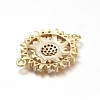 Brass Micro Pave Clear Cubic Zirconia Links ConnectorsZIRC-L085-74G-2
