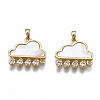 Brass Micro Pave Clear Cubic Zirconia Link ConnectorsX-KK-S356-346-NF-2