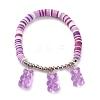 Polymer Clay Heishi Beads Stretch Charm BraceletsBJEW-JB05767-3