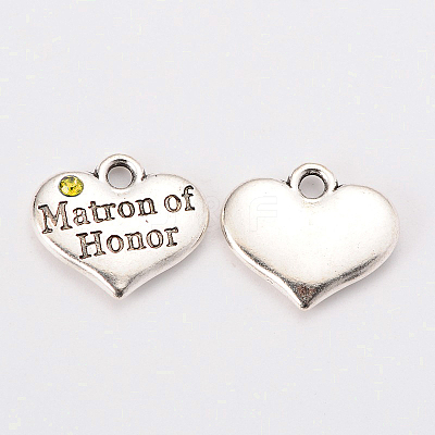 Wedding Theme Antique Silver Tone Tibetan Style Heart with Matron of Honor Rhinestone CharmsX-TIBEP-N005-03B-1