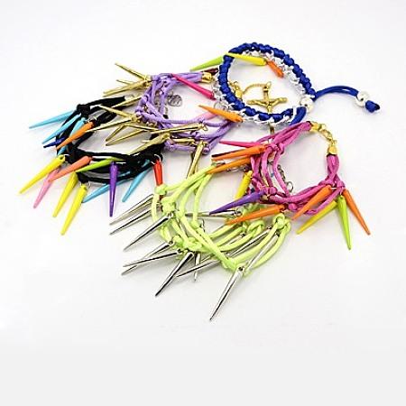 Fashion Acrylic Spike BraceletsBJEW-MSMC002-08-1