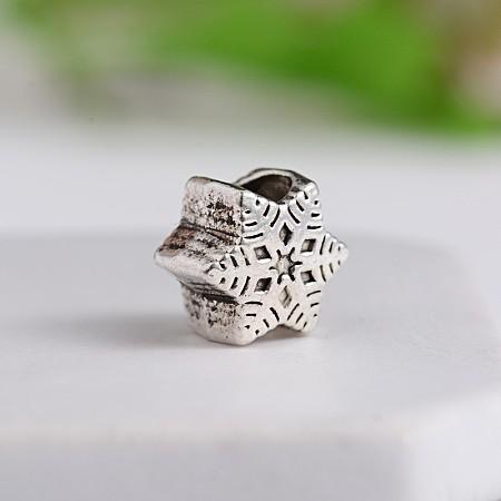 Tibetan Style Snowflake Zinc Alloy European BeadsX-MPDL-M050-02AS-1