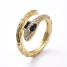 Adjustable Brass Cuff Finger Rings RJEW-G096-12G-A