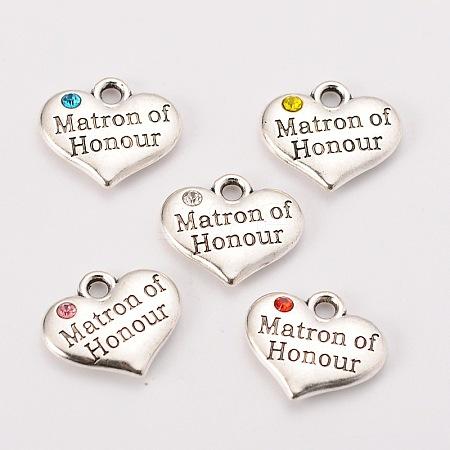 Wedding Theme Antique Silver Tone Tibetan Style Heart with Matron of Honour Rhinestone CharmsX-TIBEP-N005-07-1