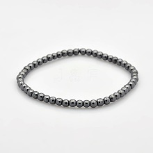 Non-magnetic Hematite Beaded Ball Stretch Bracelets for Valentine's Day Gift BJEW-M066-A-02