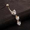 18K Gold Plated Brass Cubic Zirconia Navel Ring Belly Rings AJEW-EE0001-18-2