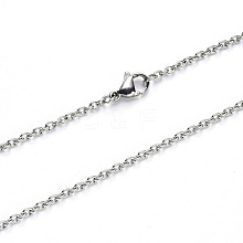 304 Stainless Steel Cable Chain Necklace Making NJEW-S420-007B-P