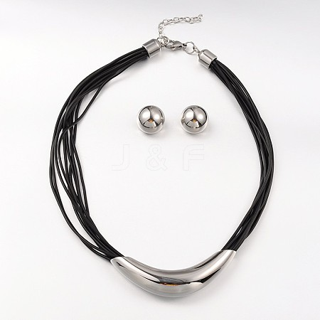 304 Stainless Steel Necklaces and Domed Ear Studs Jewelry SetsX-SJEW-L377-07P-1
