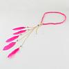 Women's Dyed Feather Braided Suede Cord HeadbandsOHAR-R188-06-1