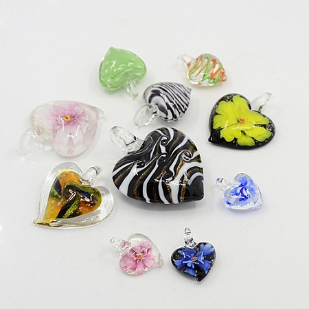 Perfect Valentines Gift Idea for Her Mixed Color Handmade Lampwork Heart PendantsLAMP-MSMC003-18-1