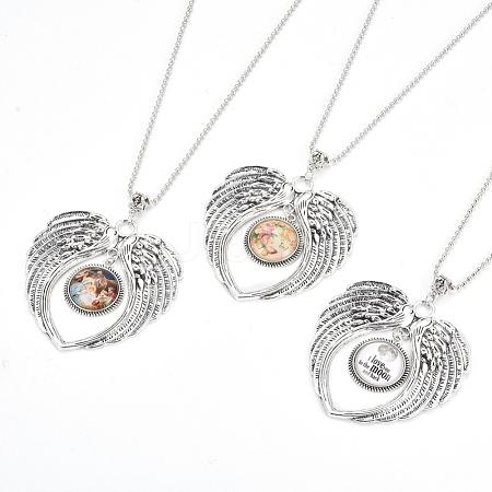 Zinc Tibetan Style Alloy Angel Wing Heart Pendant NecklacesNJEW-G328-B01-1