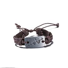 Unisex Trendy Leather Cord Bracelets BJEW-BB15581-B