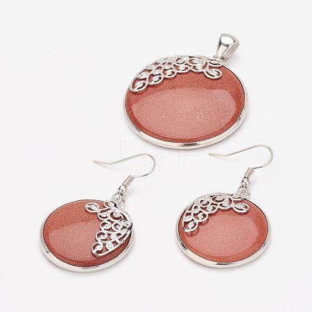 Synthetic Goldstone Pendants and Dangle Earrings Jewelry SetsSJEW-F144-01P-1