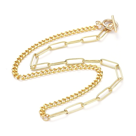 Brass Curb Chain/Paperclip Chain Necklaces NJEW-JN02781-01-1