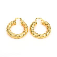 Brass Hoop Earrings EJEW-F250-01-G