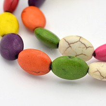 Dyed Synthetic Turquoise Oval Bead Strands G-N0138-03
