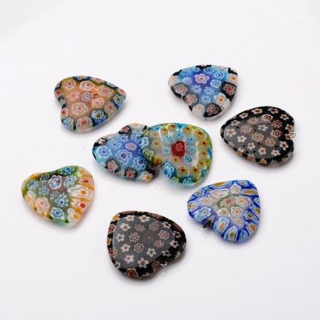 Heart Handmade Millefiori Glass FindingsLK-M001-02-1