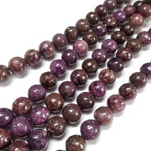 Natural Lepidolite/Purple Mica Stone Round Bead Strands G-L144-8mm-01