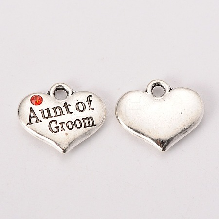 Antique Silver Tone Tibetan Style Heart with Aunt of Groom Rhinestone CharmsX-TIBEP-N005-01C-1