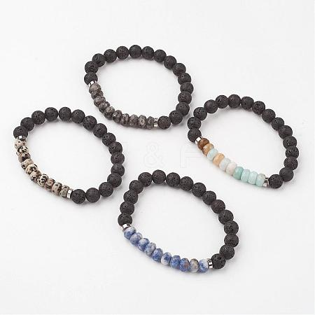 Natural Gemstone Stretch BraceletsBJEW-JB02662-1