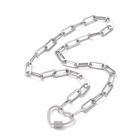 304 Stainless Steel Paperclip Chain/Cable Chain NecklacesNJEW-JN02702-02-1