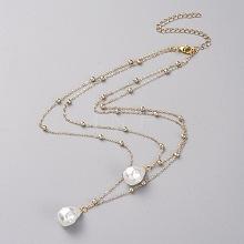 Double Layered Necklaces NJEW-JN02633-01