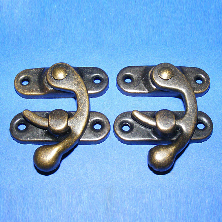 Iron Wooden Box Lock Catch Clasps IFIN-R203-93AB-1