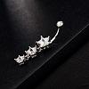 Star 18K Platinum Plated Body Jewelry Brass Cubic Zirconia Dangle Belly RingsAJEW-EE0001-09-3