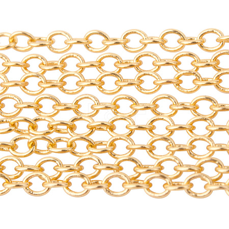 PandaHall Elite Brass Cable Chains CHC-PH0001-01G-NF-1