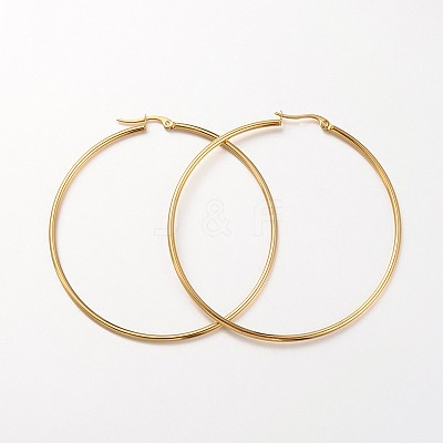 Ring 304 Stainless Steel Big Hoop Earrings EJEW-N0016-11G-K-1