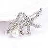 Alloy Rhinestone Starfish/Sea Stars Safety BroochesJEWB-L004-06P-1