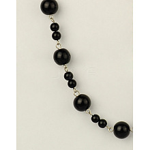 Handmade Round Glass Pearl Beads Chains for Neckalces Bracelets Making AJEW-JB00055-03