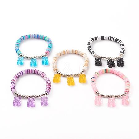 Polymer Clay Heishi Beads Stretch Charm BraceletsBJEW-JB05767-1