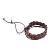 Adjustable Casual Unisex Braided Leather BraceletsBJEW-BB15584-4