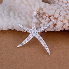 Brass Cubic Zirconia Starfish Pendants KK-BB11655