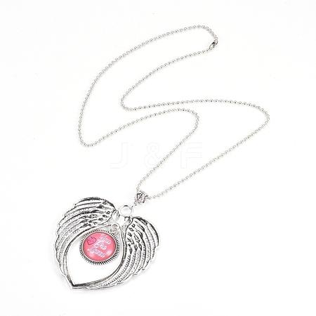 Zinc Alloy Angel Wing Heart Pendant NecklacesNJEW-G328-A09-1