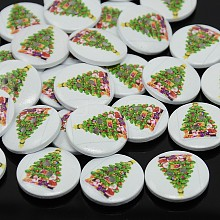 2-Hole Dyed Flat Round Printed Wooden Sewing Buttons for Christmas X-BUTT-P001-20mm-01