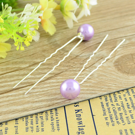 Lady's Hair Accessories Silver Color Iron Ball Hair Forks PHAR-S178-09-1