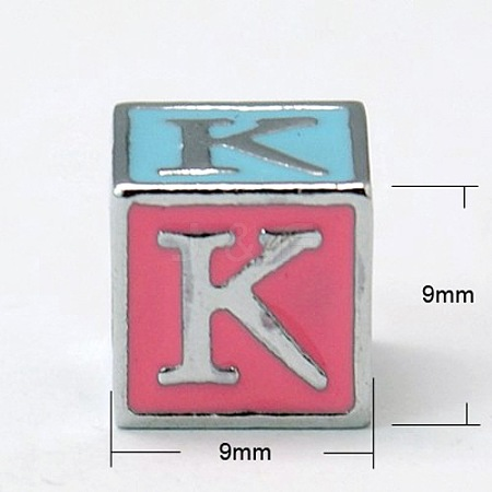 Alloy Enamel Large Hole Cube Beads X-ENAM-C1491-K-1