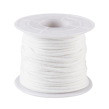 Round Polyester & Spandex Elastic Band for Mouth Cover Ear Loop, Mouth Cover Elastic Cord, DIY Disposable Mouth Cover Material, White, 2.5~3mm; about 20m/roll