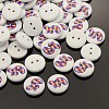 2-Hole Flat Round Number Printed Wooden Sewing ButtonsX-BUTT-M002-4-1