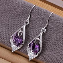 High Quality Teardrop Brass Cubic Zirconia Dangle Earrings EJEW-BB11785