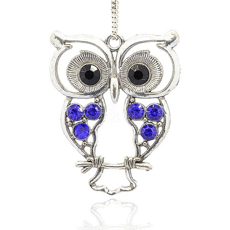 Antique Silver Alloy Rhinestone Owl Large PendantsALRI-J005-05AS-1