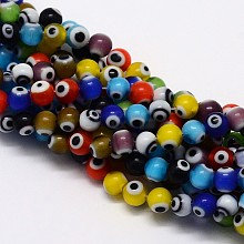 Handmade Evil Eye Lampwork Round Beads X-LAMP-L055-4mm-12
