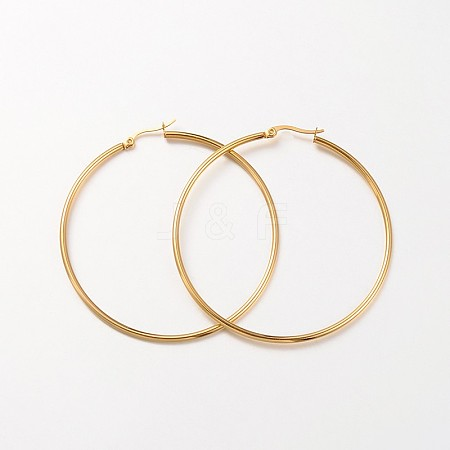 Ring 304 Stainless Steel Big Hoop Earrings EJEW-N0016-11G-J-1