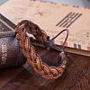Adjustable Casual Unisex Braided Leather BraceletsBJEW-BB15584-7