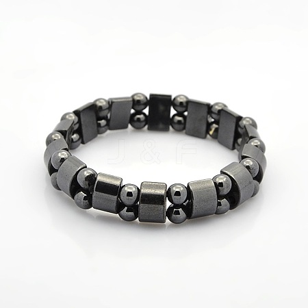 Magnetic Hematite Tow Row Rectangle and Round Beads Stretch Bracelets for Valentine's Day GiftBJEW-M066-11-1